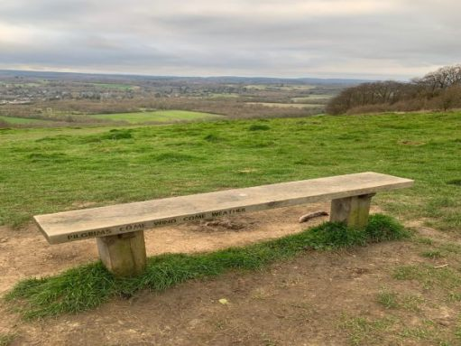 Plain bench overlooking the North Downs, with the inscription: Pilgrims come wind come weather. Dedicated to …