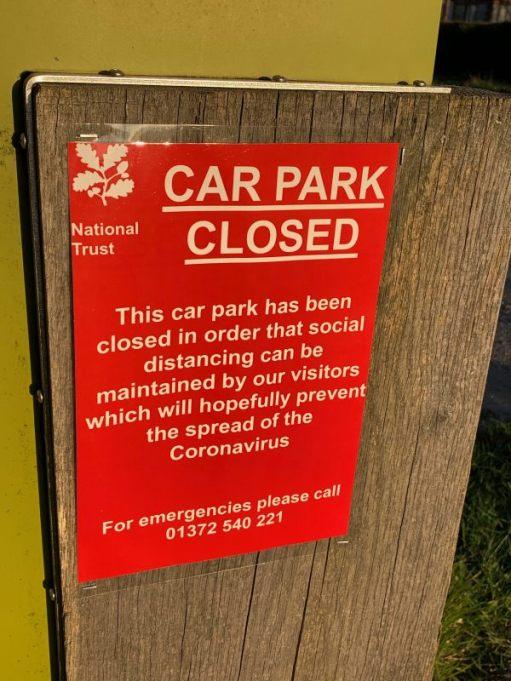 Photograph of notice announcing the closure of the car park at Denbies Hillside due to the Coronavirus.