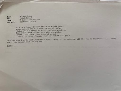 Copy of a memo sent by Bobby back in 2000.
