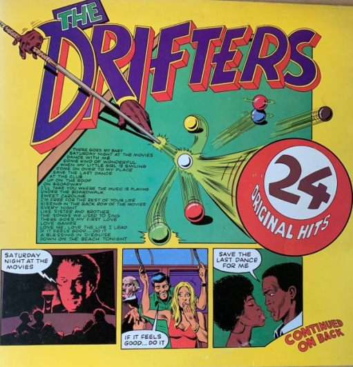 """Album cover The Drifters - """"24 original hits"""". A comic-book type layout listing the tracks and three cartoons depicting three of the songs."""