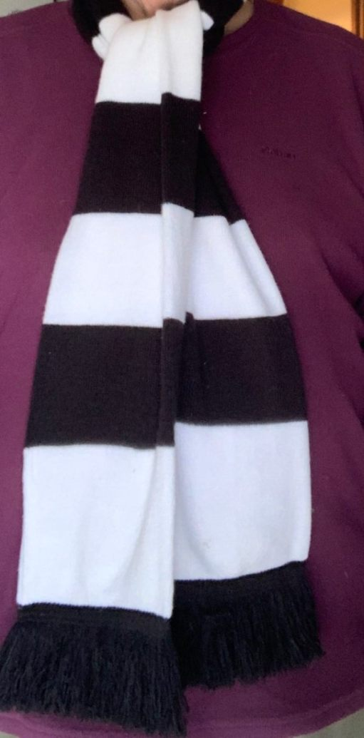 East Preston Under 11 / Fulham FC scarf. Large alternate Black and White stripes.