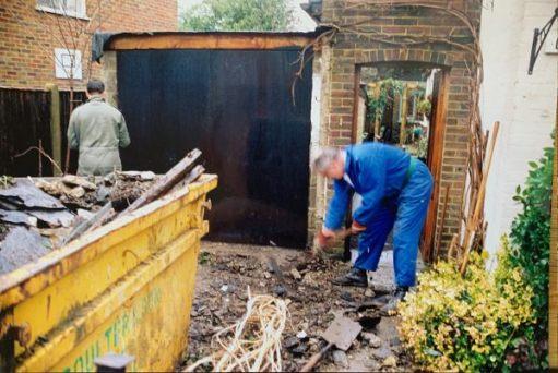 Bobby & Andrew demolishing the garage.