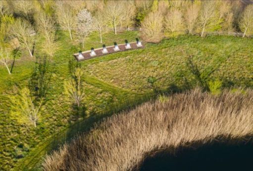 An aerial view of part of the Rolls-Royce estate at Goodwood showing the six hives.