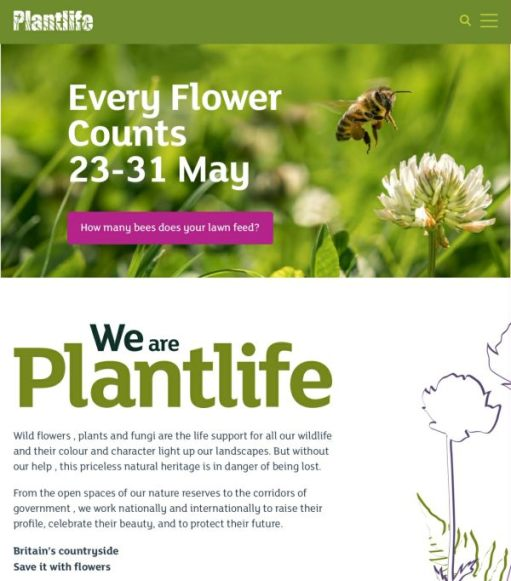 """We are Plantlife - """"Every Flower Counts 23-31 May."""