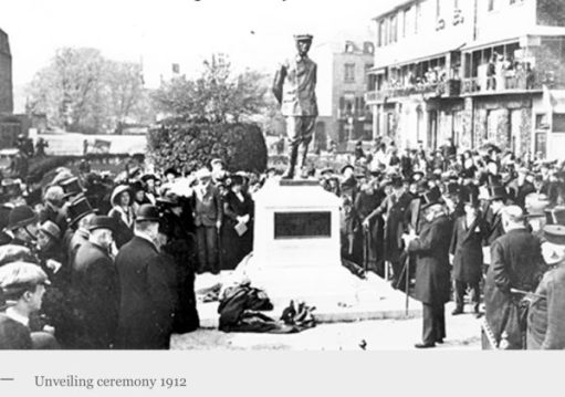 A newspaper cutting of a photograph of the unveiling ceremony of the Dover Charles Rolls statue.
