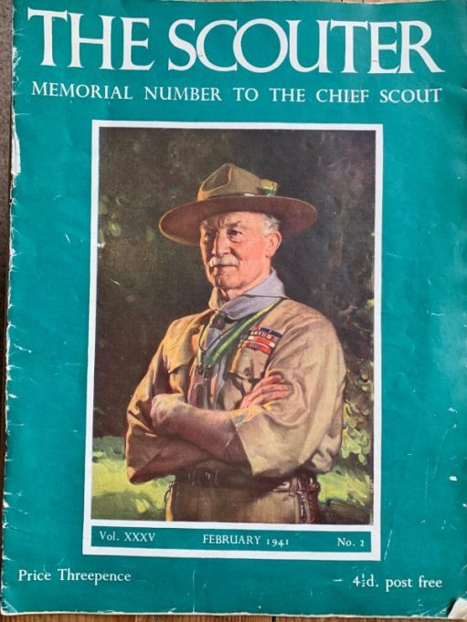 "Copy of the front cover of ""The Scouter"" - Memorial number for the Chief Scout"" from February 1941 with a picture of Baden-Powell in full uniform. Price Threepence (or 4 and a half old pence post free...)"