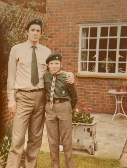 "Bobby (""Skip"") and Andrew in their scout uniforms."