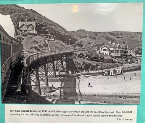 A train about to cross the viaduct on the southern approach to Sandsend Station. All now gone.