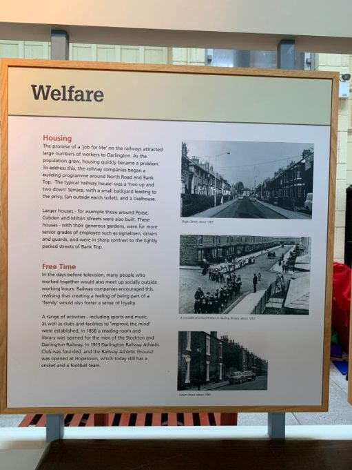 A poster about railway staff welfare in the town.
