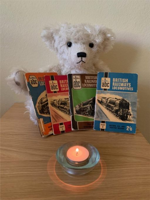 Ellen, some trainspotting books and a candle lit for Diddley.