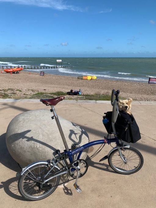 Brompton Revival - Bertie and the Brompton at Littlehampton Beach.