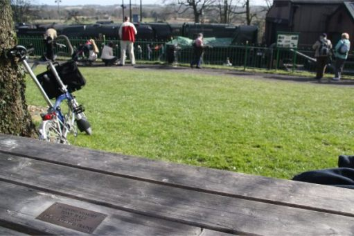 Memorial bench at Ropley for Bobby's brother Tony.
