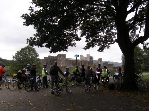 The Sustrans cyclists at Caerphilly Castle.