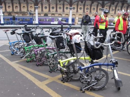 April 2013. Sustrans Convention. Rangers Bromptons at York Station.