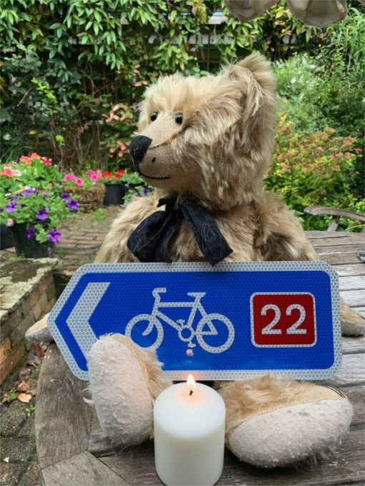 Bertie, Cycle route No 22 sign and a candle lit for Diddley.