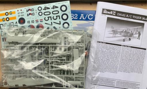 Contents of the Tiger Moth kit still sealed in their plastic bags.