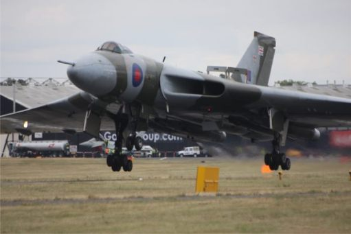 The end of the show. Airbrakes out. Coming into land. Five years later, it was the end of the Vulcan's flying career.