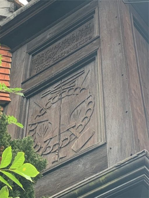 """The inscription on the base of the clock reads """"For you at home I part the day / work and play twixt sleep and meals""""."""
