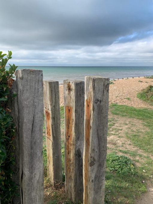 Old railway sleepers standing vertically as fence posts.