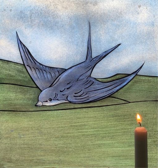 A Candle lit for Diddley in front of the Bluebird painting.