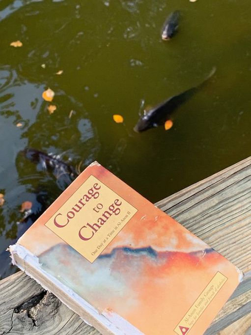 "The Al-Anon ""Courage to Change"" book against a back drop of the pond."