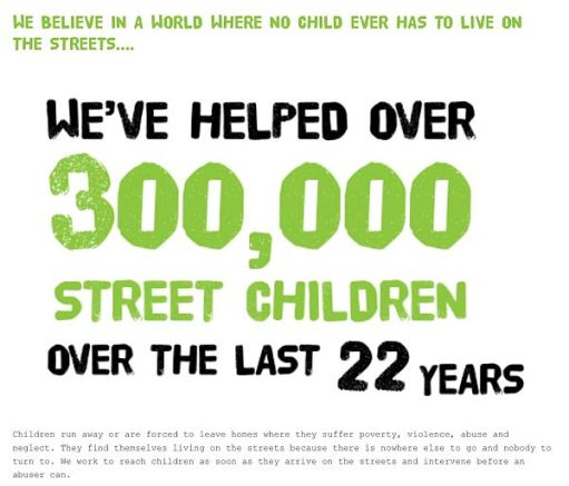 Railway Children: We've helped over 300,000 street children over the last 22 years.