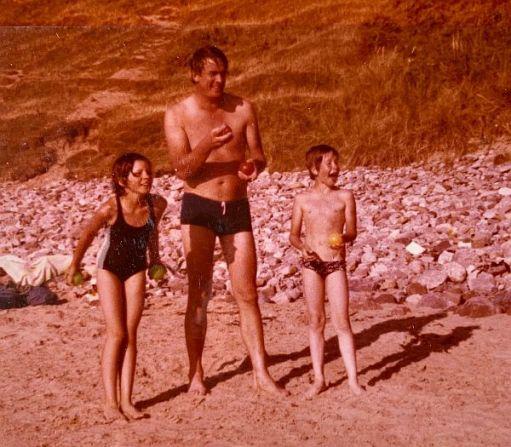 April, Bobby and Carl at Mewslade Bay.