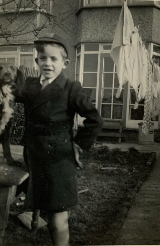 26 January 1953. Bobby's 9th birthday. The year of the class of 53 last week, of course. The back garden of 138 Brocks Drive, North Cheam . Notice the school cap.