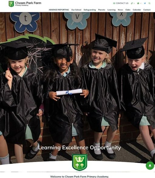 Publicity photograph for Cheam Park Farm Primary, with four students wearing caps and gowns and holding rolled certificates.