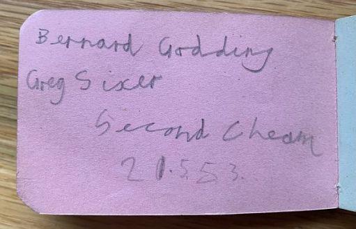 Bernard Godding Greg Sixer Second Cheam 21.5.53.