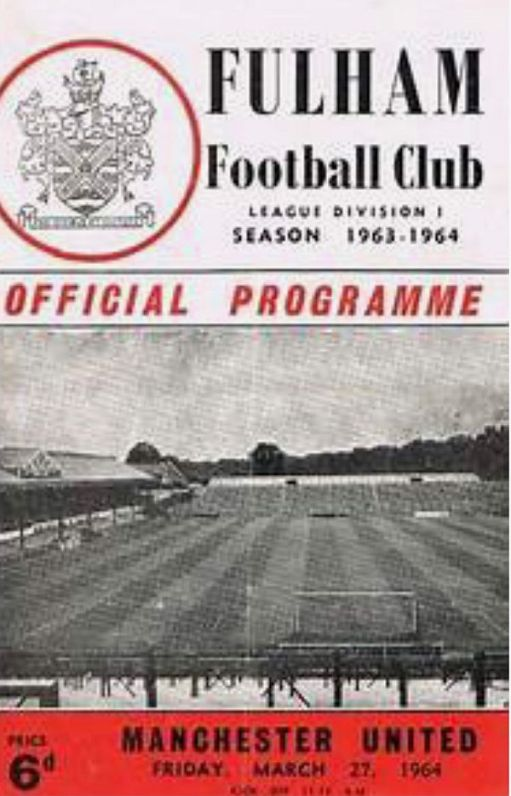 Programme cover for Fulham v Manchester united. 27 March 1964.