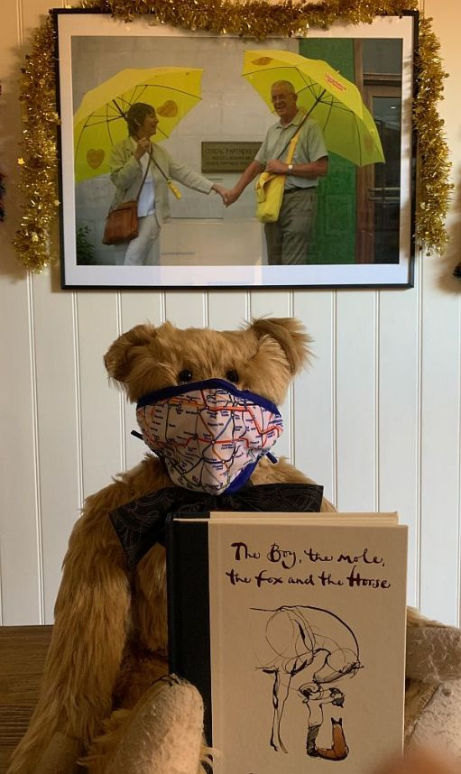 """Bertie wearing an Underground map face mask and showing off the """"The Boy, the Mole, the Fox and the Horse"""" book."""