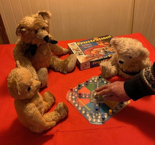 Bertie, Eamonn and Trevor playing Frustration with Bobby.