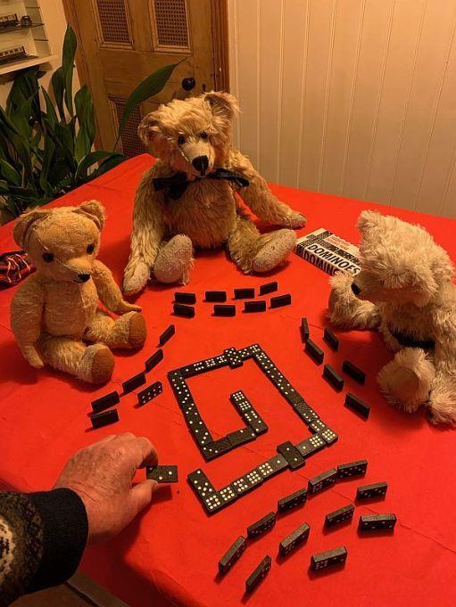 Bertie, Eamonn and Trevor playing Dominoes with Bobby.