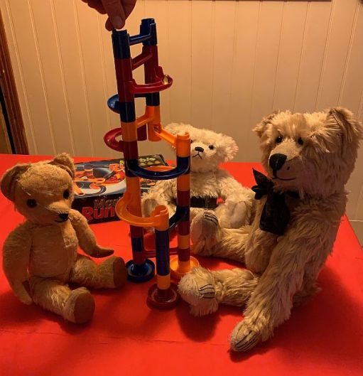Bertie, Eamonn and Trevor playing Marble Run with Bobby.