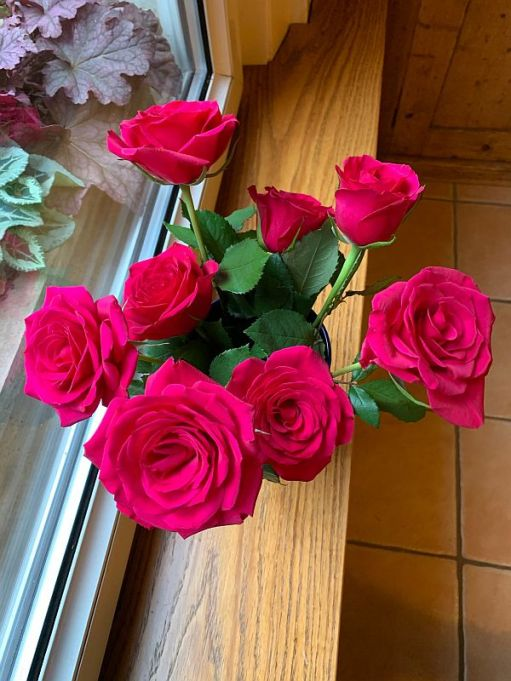 Vase of Red Roses, viewed from above.
