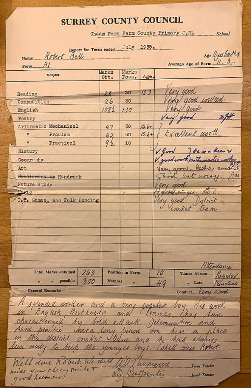 Bobby's Report Card July 1955.