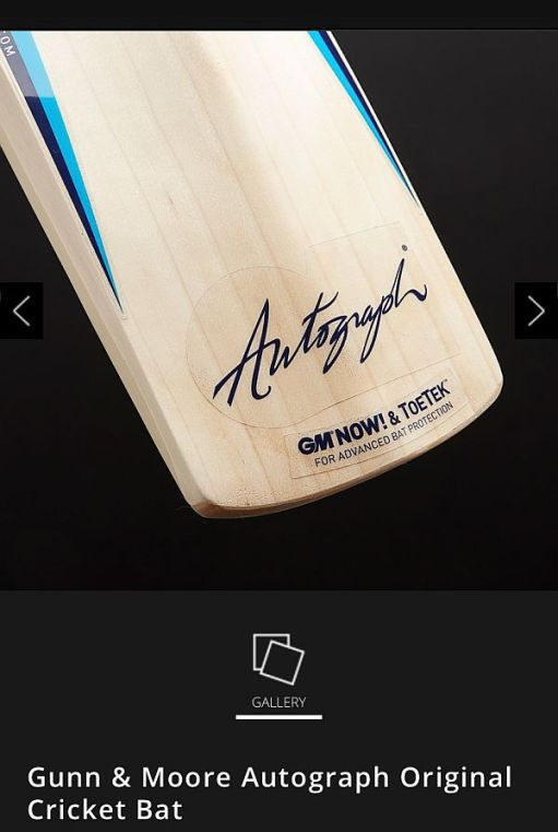 "Close up of the bottom of a modern ""Autograph"" Cricket Bat."
