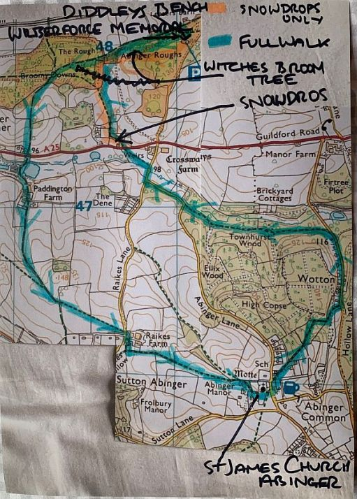 Map of the Secret Snowdrops walks