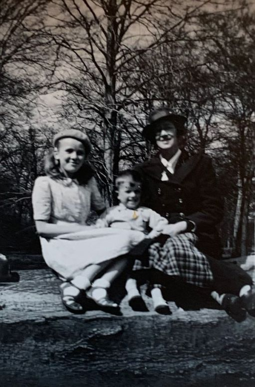 Wendy, Bobby and Mum, Dorothy. Black & White Photograph from 1946.