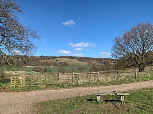 Benches: Looking North towards White Down, Denbies Hillside and the North Downs.
