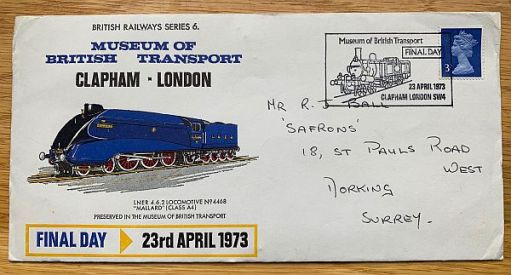 Museum of British Transport, Clapham. Final day commemerative cover Bobby sent to himself.