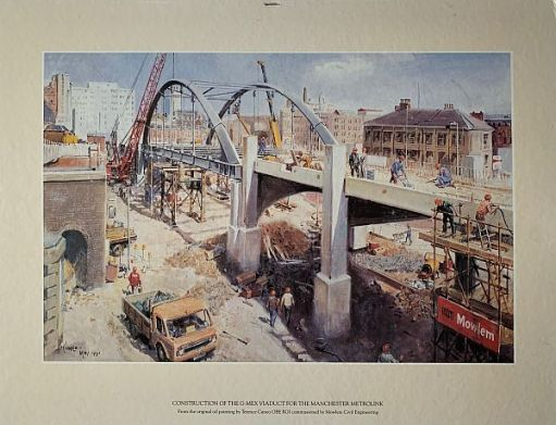 Construction of the G-Mex Viaduct for the Manchester Metrolink.