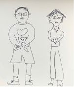 The Art of Kate. A drawing of Bobby (holding Bertie) and Kate.
