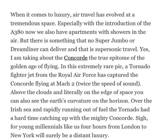 Write-up on Concorde.