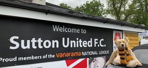 Bertie outside the entrance to Sutton United.