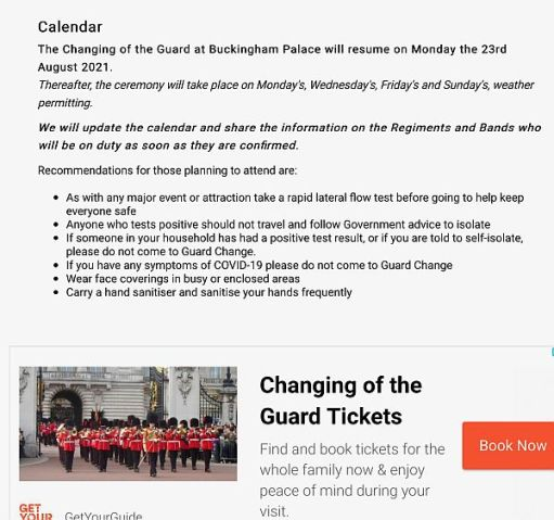 Screenshot from the website about Changing the Guard.