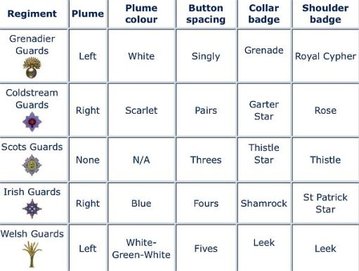 Table showing the differences in the uniforms.