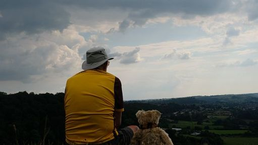 Rear view of Bobby & Bertie enjoying the view from Swift's Hill.