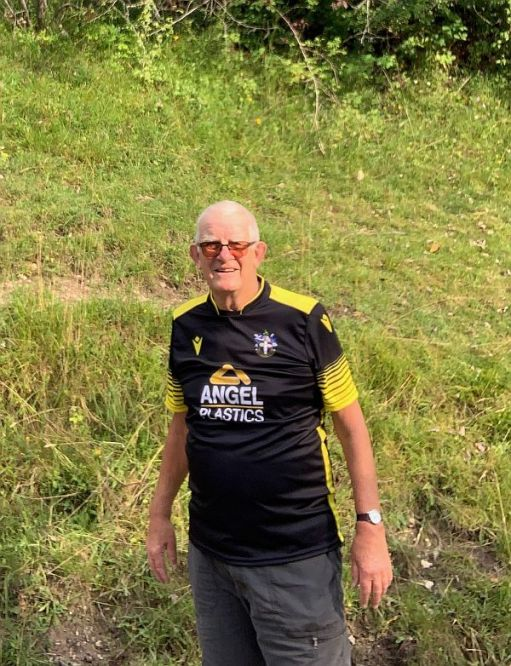 Bobby wearing his commemerative Sutton United shirt.